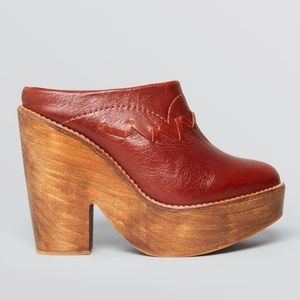 Free People Chance Leather Wooden Clogs Heels Sz 9